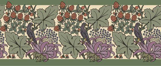 Trustworth Wallpaper Borders  This design began life as a repeating pattern, and has been adapted into a border that would be quite happy to find a place in your kitchen or any room where just a bit of ornament is desired. Judging from the expression of the bird, the strawberries are of the hot house variety and are to be seen rather than eaten. Good for you, and too bad for the bird.  This border can be scaled to your requirements.  $7.00/ square foot