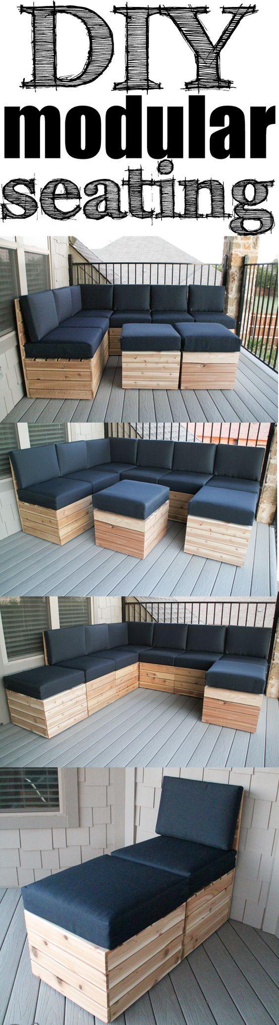 DIY Modular Seating! outdoor living. Juego de living para patio