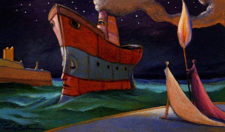 Artique | THE ARRIVAL OF THE SHIP OF DREAMS -2016- acrylboard, framed (8,6 x 11,8 i) | Carlo Salomoni