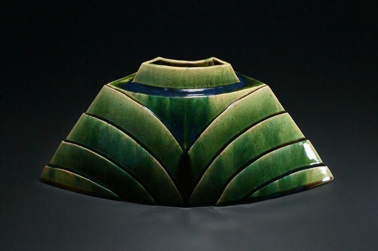 織部刻文花器 Vace with engraved,Oribe type  2014
