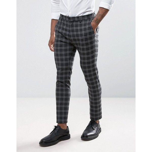ASOS Super Skinny Suit Pants in Tonal Gray Check ($64) ❤ liked on Polyvore featuring men's fashion, men's clothing, men's pants, men's dress pants, pants, grey, mens tall pants, mens zipper pants, mens stretch dress pants and mens polyester pants