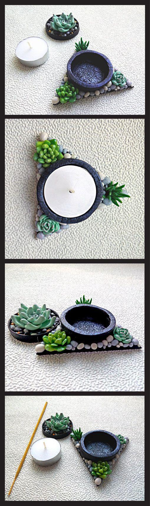 Set of Candle holder and Incense stick burner Succulent decor Tea light candle holder Ash catcher Incense supply Aromatherapy Yoga gift