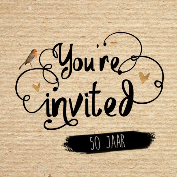 LOVZ - Hippe uitnodiging voor je feest - kraft - koper kleurige hartjes - vogel - you're invited - Hand Lettering - zelf maken