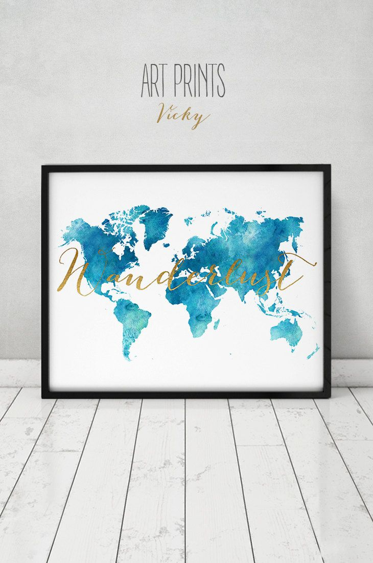 110 best watercolor maps images on pinterest map posters world wanderlust travel map world map watercolor print world map poster teal tones with faux gold text wedding guest book artprintsvicky gumiabroncs Choice Image