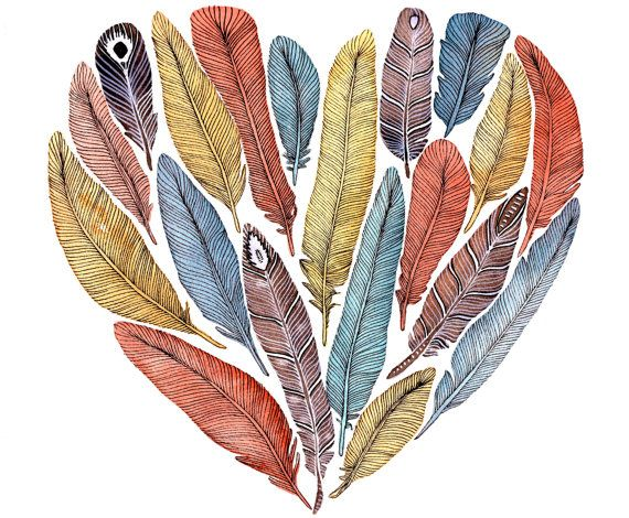 Feather Heart Painting Watercolor Art Large Archival by RiverLuna, $40.00 @Aubrey Gaskins Spendlove this is SO you!