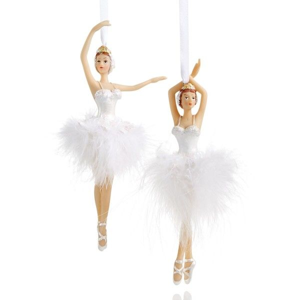 Holiday Lane Set of 2 Resin Ballerina Ornaments, ($14) ❤ liked on Polyvore featuring home, home decor, holiday decorations, no color, holiday lane, white ornaments, holiday lane ornaments, ballet ornament and white home decor