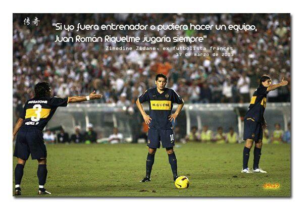 Zinedine Zidane elogia a Juan Roman Riquelme