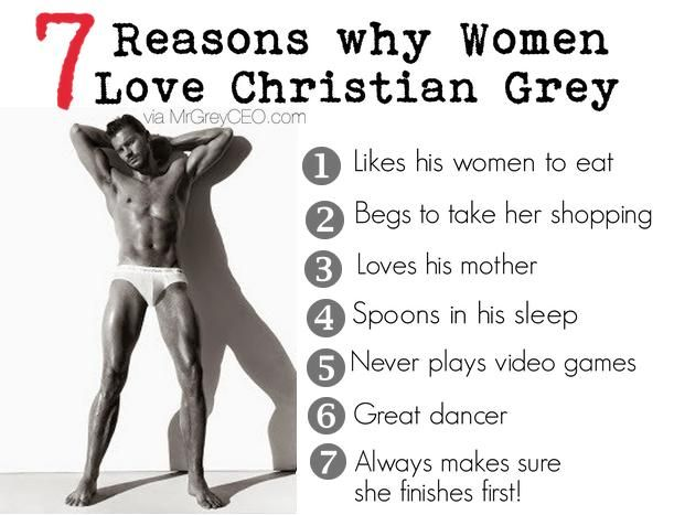 The 7 top reasons why women everywhere love Christian Grey, the fictional character from the Fifty Shades of Grey trilogy.