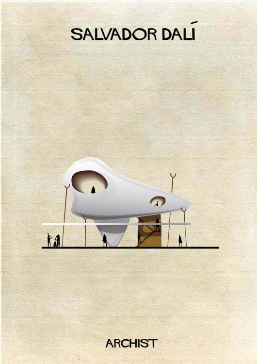 Salvador Dalí as architecture in Federico Babina's new series, Archist: Illustrations of Famous Art Reimagined as Architecture - Brad Read Design Group #buildingdesign #bradreaddesigngroup #australia #design