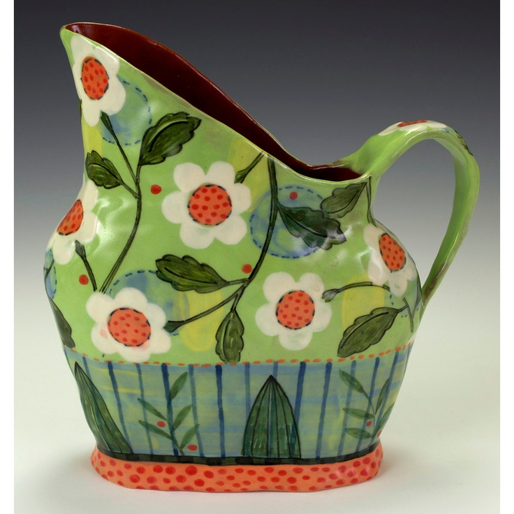 Green Pitcher, White Daisy. Nancy Gardner Ceramics.