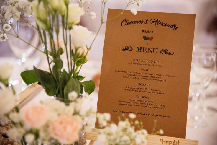 Menu dîner mariage bohème