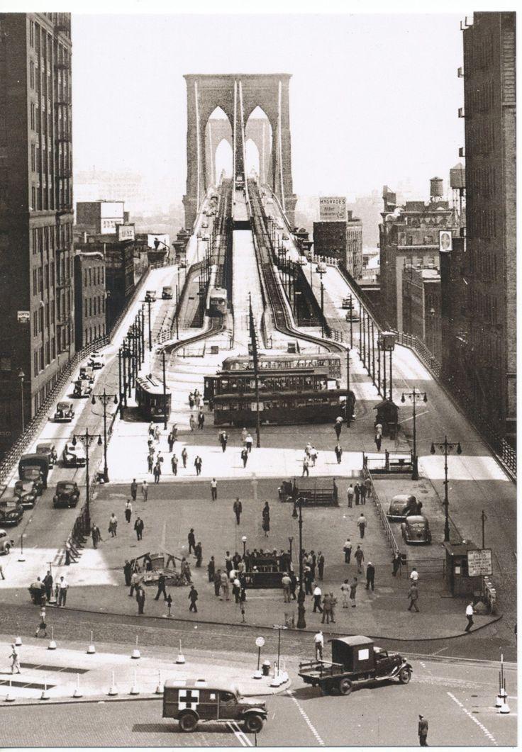 Vintage Modern 1945 Brooklyn Bridge RARE Angle New York City NYC New Post Card | eBay