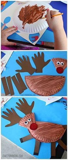 Paper Plate Reindeer Craft - Fun Christmas craft for kids to make!   CraftyMorning.com