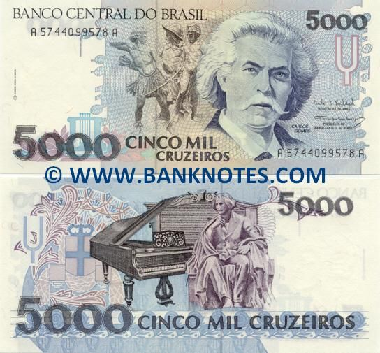 brazil currency | Brazil 5000 Cruzeiros 1993 - Brazilian Currency Bank Notes, Paper ...