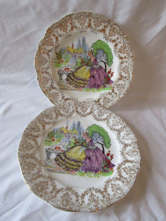 two crinolene lady style china side plates yellow purple gilding vintage china tea party mad hatter alice in wonderland beauty and beast