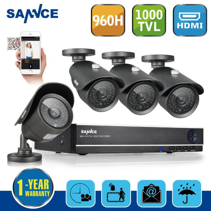 Sannce 8CH 1080P Onvif NVR/ 960H DVR Security Camera System with 4x 900TVL Superior Night Vision IR Cut Leds Outdoor CCTV Camera