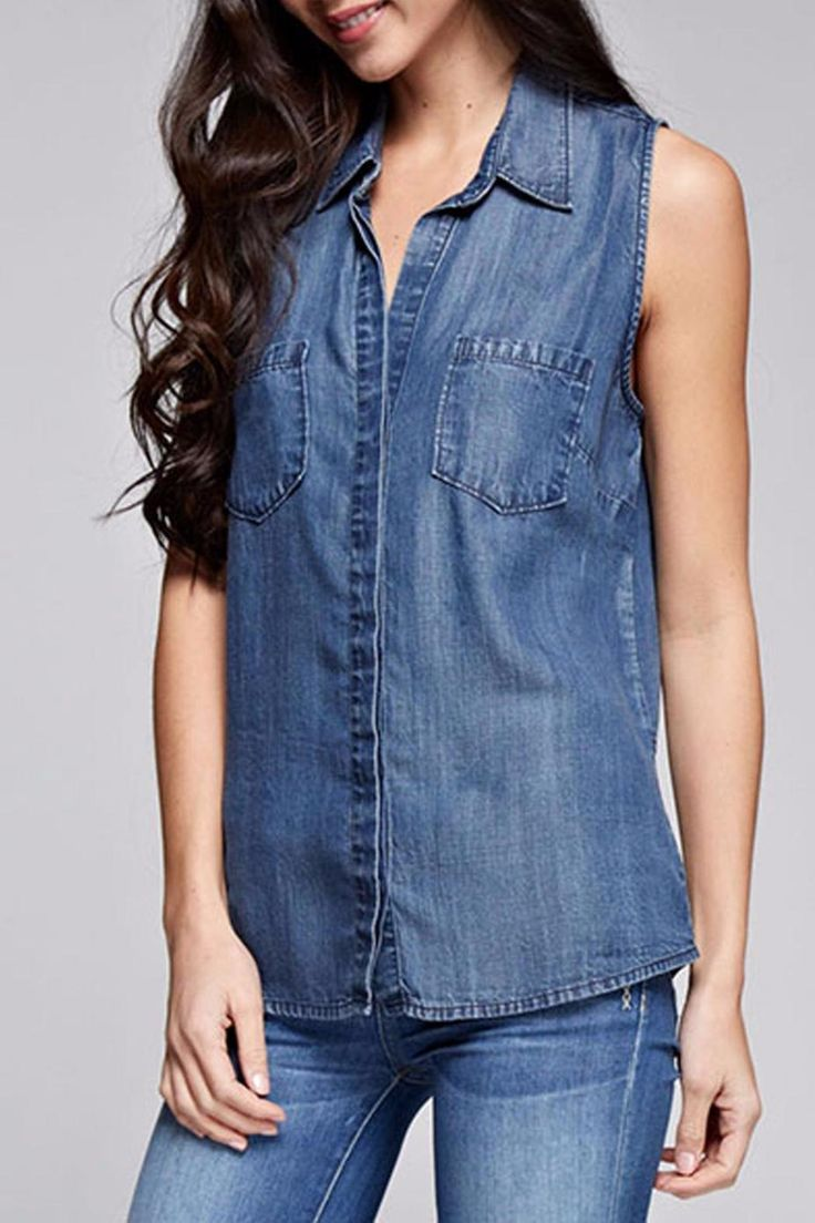 Denim shirts are the rage! Sleeveless never goes out of style. Pair this with jeans, shorts, or maxi skirts! Loose fit in the body.   Sleeveless Denim Top by Love Stitch. Clothing - Tops - Casual Clothing - Tops - Sleeveless California