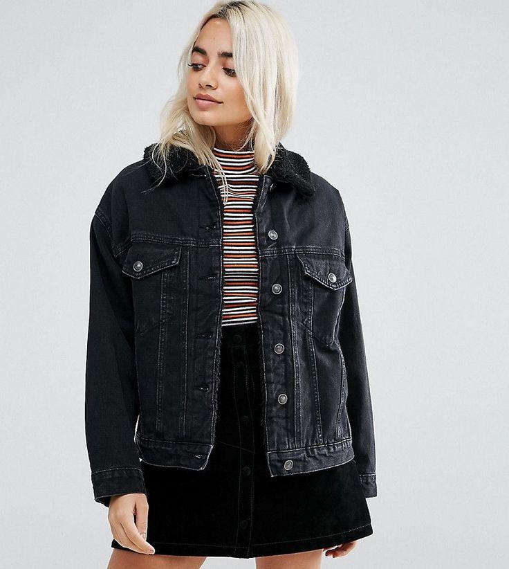 ASOS PETITE Denim Borg Jacket in Washed Black - Black