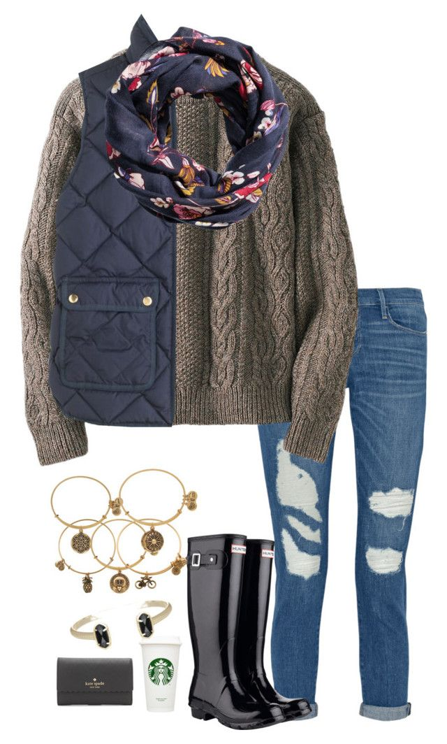 """""""Sorry for spamming"""" by pandapeeper ❤ liked on Polyvore featuring Frame, Uniqlo, Hunter, J.Crew, H&M, Alex and Ani, Kate Spade and Kendra Scott"""