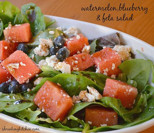 Our Watermelon, Feta & Blueberry Salad will tantalize your tastebuds AND brighten your table! shrinkingkitchen.com
