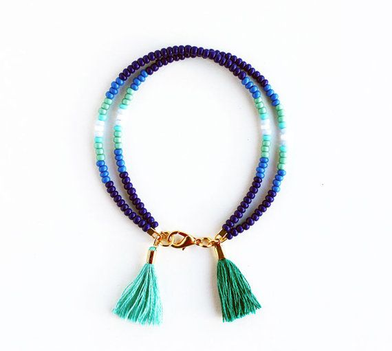 Ombre Blue Friendship Bracelet with Two Tassels in Aqua and Peacock Green - Navy Blue Cobalt Teal Turquoise White - Tassel Bracelet