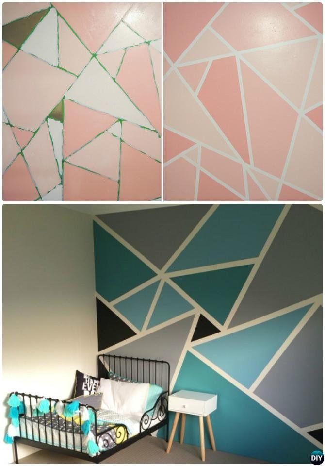 DIY Geometrische Mosaik Wandmalerei Anweisung-DIY Wand Schmerz