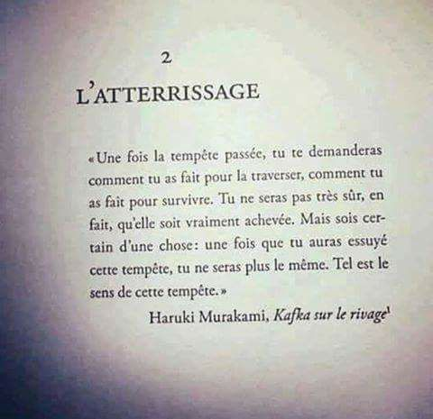 Kafka sur le rivage : Une fois la tempête passée , tu te demanderas comment tu as fait pour la traverser , comment tu as fait pour survivre . Tu ne seras pas