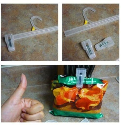 Save the clips from cheap hangers to close chip bags.   27 Clever Ways To Use Everyday Stuff In The Kitchen