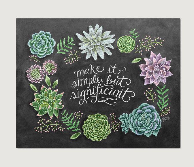 Succulent Wall Art - Spring Decor - Spring Art - Spring Print - Chalk Art - Succulent Print- Succulent Illustration by LilyandVal on Etsy https://www.etsy.com/listing/225206540/succulent-wall-art-spring-decor-spring