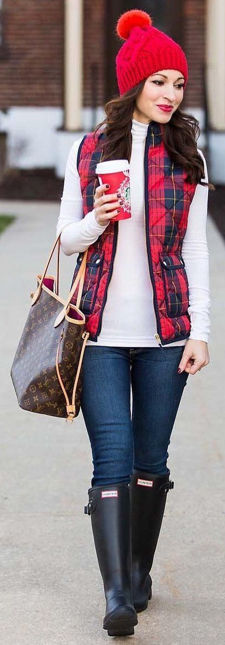 #winter #fashion /  Red Beanie / Tartan Plaid Vest / White Turtleneck Navy Skinny Jeans / Black Boots