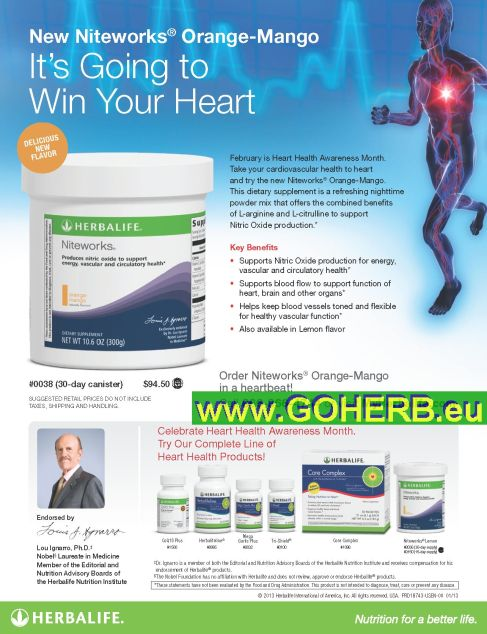 Learn more about how to make healthy nutrition and lifestyle changes to boost NO and support a healthy heart…try our complete line of Herbalife HEART HEALTH PRODUCTS by Prof. Lou Ignarro
