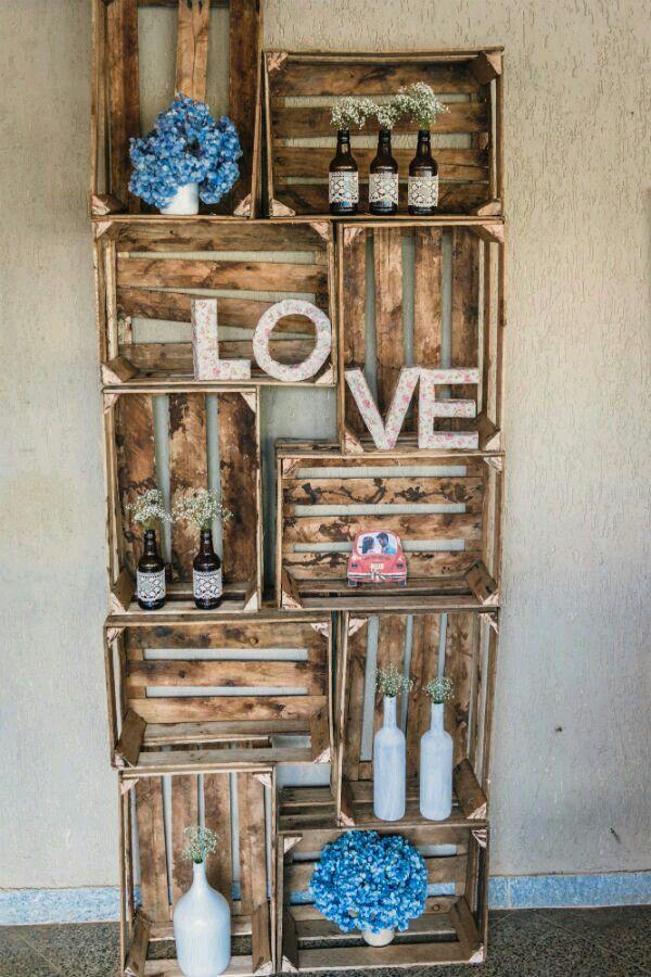 Caixotes para decoração no casamento