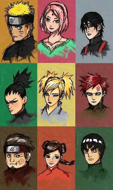 The last - Naruto The Movie character designs for Naruto, Sakura, Sai, Shikamaru, Temari, Gaara, Choji, Tenten, and Lee.