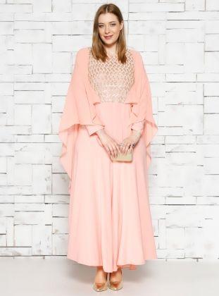 Cape Evening Dress - Salmon Pink - he&de