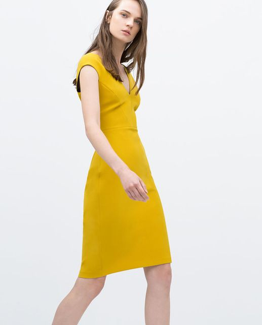 Autumn fashion Women Yellow Dress Elegant V-Neck Heath Dresses US $53.00 /piece CLICK LINK TO BUY THE PRODUCT  http://goo.gl/oYWEYs
