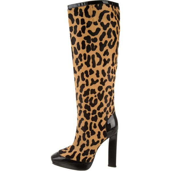 Pre-owned Roger Vivier Ponyhair Knee-High Boots ($265) ❤ liked on Polyvore featuring shoes, boots, animal print, calf hair boots, pony hair boots, animal print knee high boots, leopard print knee high boots and tan knee high boots