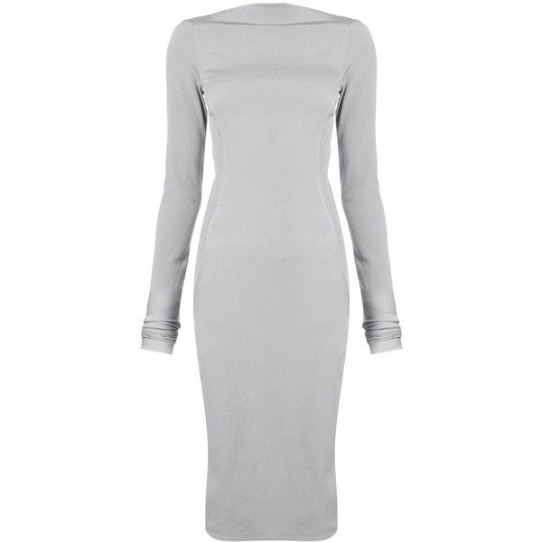 Rick Owens fitted dress (1.730 BRL) ❤ liked on Polyvore featuring dresses, grey, zip back dress, gray long sleeve dress, tight long sleeve dress, longsleeve dress and tight dresses