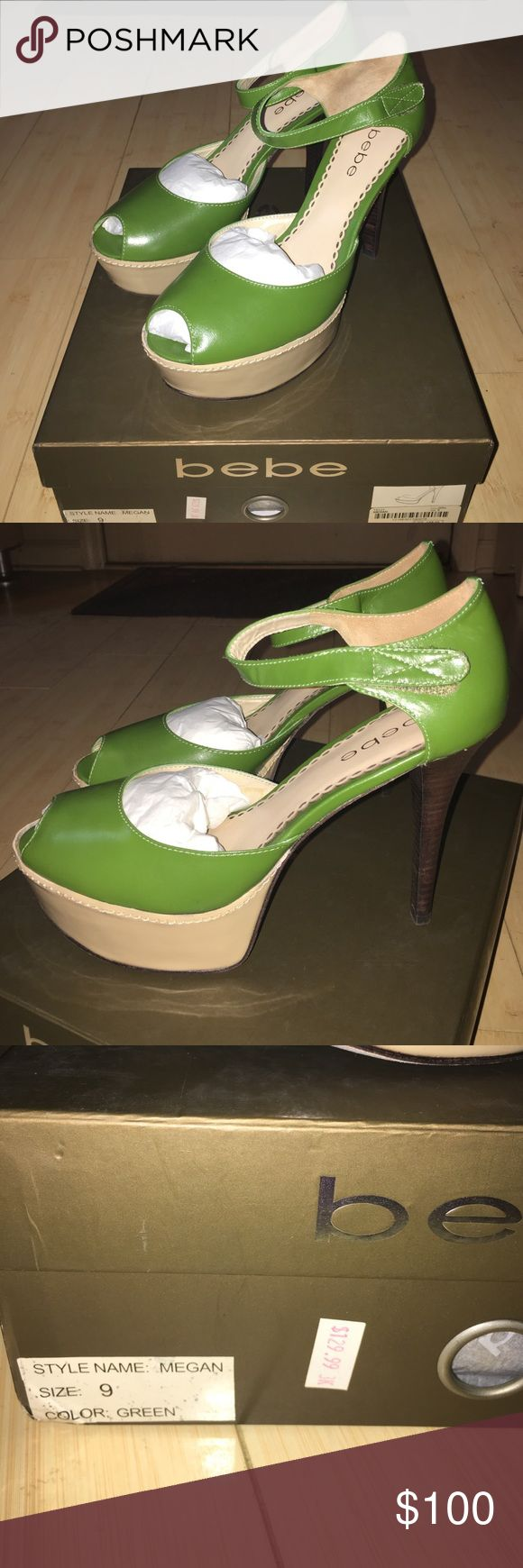 Bebe size 9 green Megan 4 1/2 in heel Bebe 4 1/2 in heels, 1 1/2 in platform, green Megan style. Retail tag of 149.00, sale tag 129.99. Slighty scuffed soles as they were never worn out of the house. bebe Shoes Heels