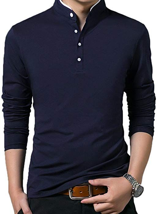 5c03c5e60c4 Mocotono Polo Manga Larga con Cuello Mao Golf Camiseta para Hombre:  Amazon.es: