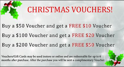 Spoil yourself or a loved one this festive season with our great vouchers and receive a FREE Voucher :)