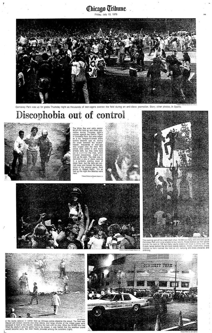 7/12/1979:Disco Demolition Night. Sox promotion ends in a mob scene. ※7/13/1979,Chicago Tribune