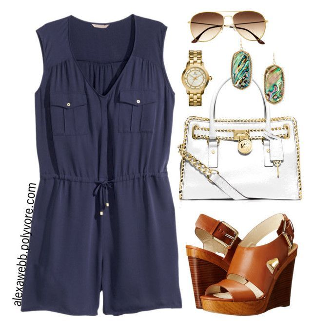 """""""Plus Size Playsuit"""" by alexawebb ❤ liked on Polyvore featuring H&M, MICHAEL Michael Kors, Tory Burch, Kendra Scott, women's clothing, women, female, woman, misses and juniors"""