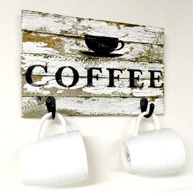 How to Make a Chippy Coffee Sign with Hooks www.homeroad.net