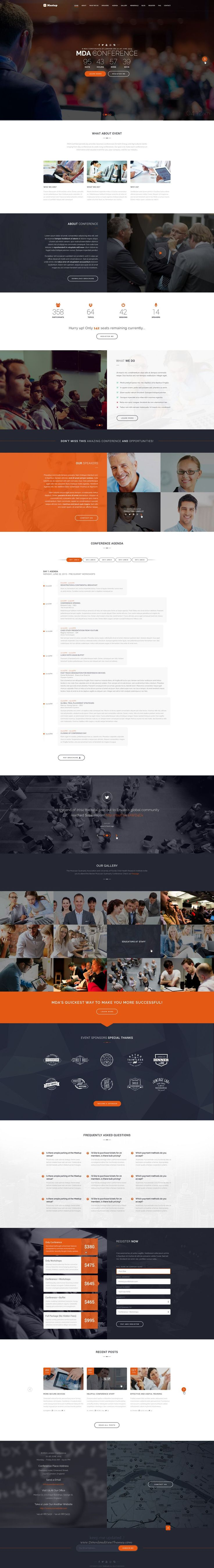 Meetup is a simple and easy-to-use WordPress theme which is created for business #websites and #conference purposes.  There are lots of featured sections for Speakers, Event Schedule, FAQ's, Registration Form and a location map. With many cutting-edge features.