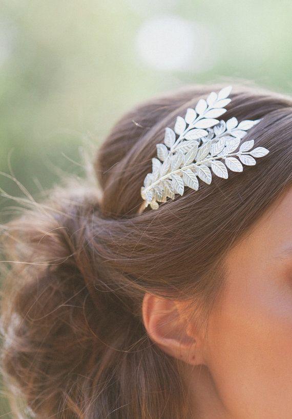 Casque Grecian argent feuille Grecian Head Piece Grecian postiche cheveux pièce déesse grecque accessoires Grecian nuptiales accessoires de mariage