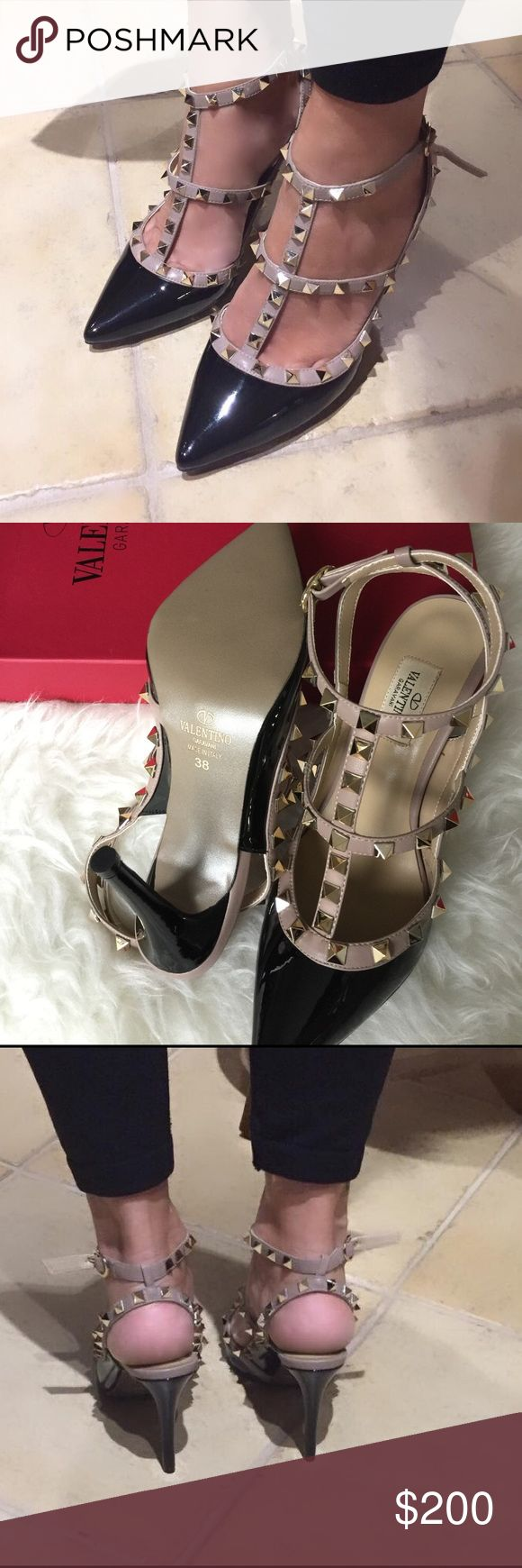 Valentino Rockstud shoes Valentino Black/nude edges with gold rockstud . Size 7 . Came with boxes . Price reflect auth--- Shoes Heels