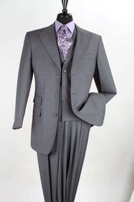 Loriano Men's 3 Piece Wool Feel Fashion Suit - Wide Leg Pants - Clothing Connection Online