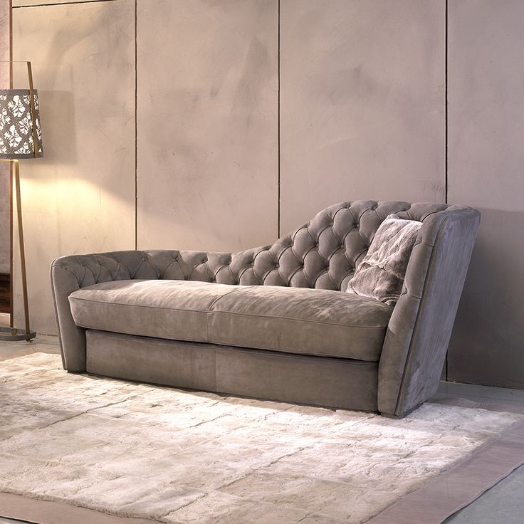 A Contemporary Designer Chaise Longue Upholstered Exquisite Nubuk Leather.