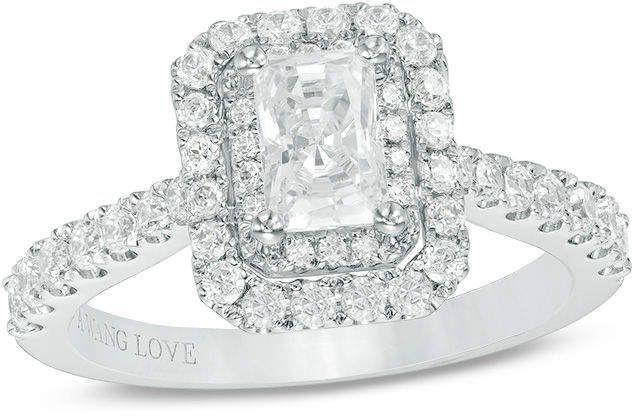 38c65d4d2c88 Zales Vera Wang Love Collection 1-1 3 CT. T.W. Emerald-Cut Diamond ...
