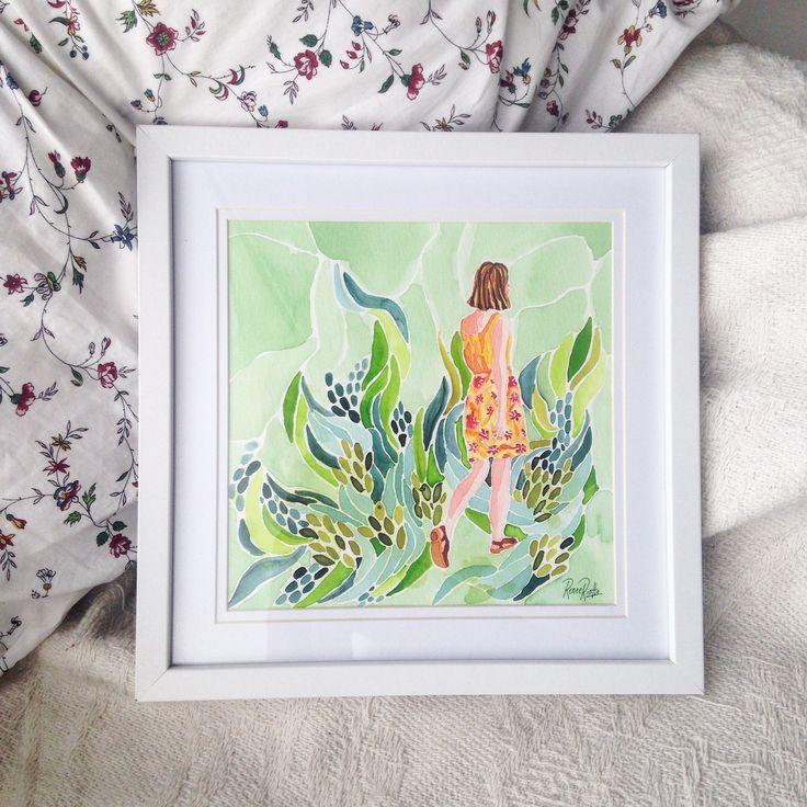 Original Watercolour Illustration Girl Walking Through Greenery #art #artwork #illustration #watercolourpaint #watercolour #colour #watercolourpainting #painting #paint #girl #garden #drawing #melbourneartist #artist #cute #artistsofinstagram #creative #artistsoninstagram #renee #riotto #reneeriotto